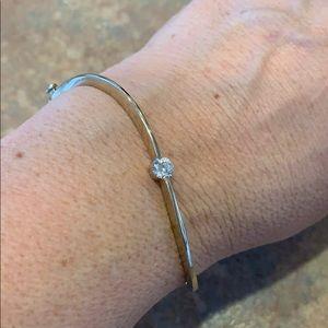 Jewelry - solid 14k gold bracelet 11.92 grams cuff bangle cz